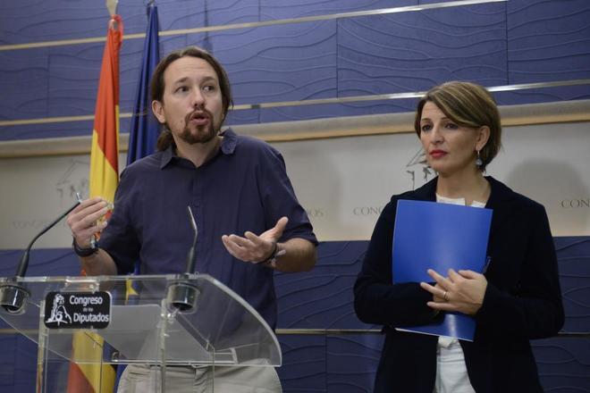 Pablo Igleias, en rueda de prensa en el Congreso el pasado día 16.