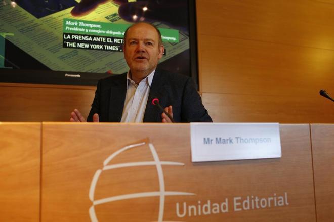 Mark Thompson, en el salón de actos de la sede de Unidad Editorial.