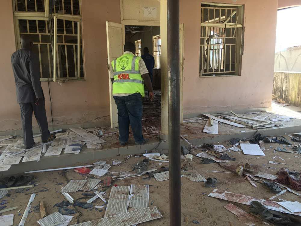 Lugar del atentado suicida al noroeste de Nigeria.