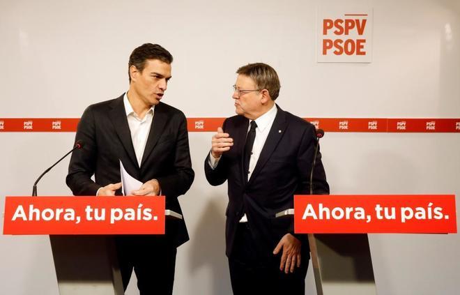 Pedro Sánchez y Ximo Puig, el pasado lunes en una reunión en Valencia.