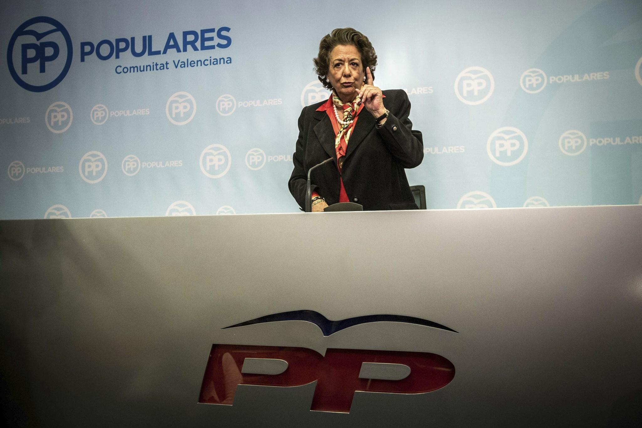 Rita Barberá durante la última rueda de prensa que ofreció en Valencia.