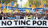 Manifestación en recuerdo a las víctimas del atentado de Barcelona...