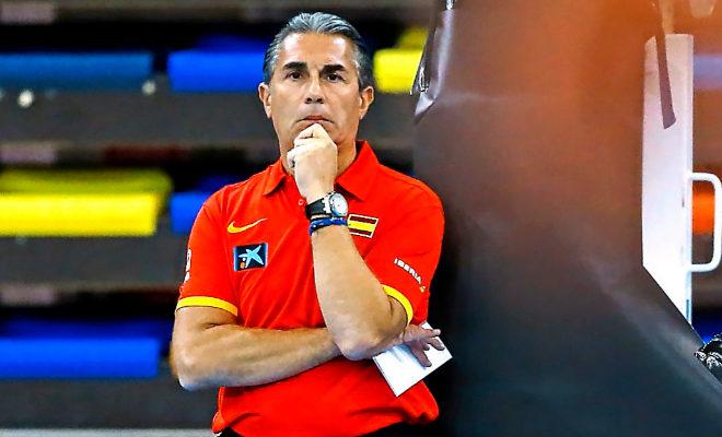 Sergio Scariolo, durante un partido con la Selección Española.