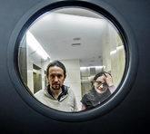 Pablo Iglesias y Mónica Oltra, en un encuentro en el Congreso