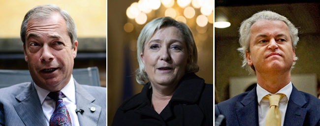 De izquierda a derecha: Nigel Farage, Marine Le Pen y Geert Wilders