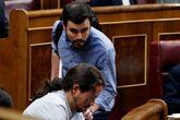 Alberto Garzón y Pablo Iglesias, en el Congreso de los Diputados