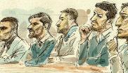 Dibujo de los integrantes de 'La Manada' durante el juicio