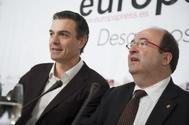 Miquel Iceta y Pedro Sánchez, juntos en Madrid el pasado lunes.