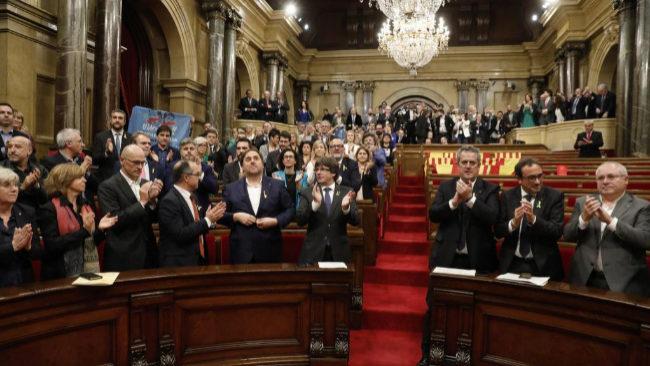 Pleno del Parlament en que se aprobó la declaración de independencia