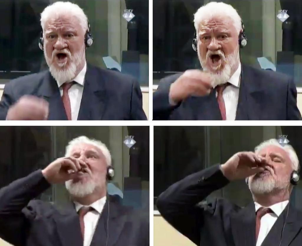 54400193. LA HAYA (HOLANDA), 29/11/2017.- Combo con varias capturas de un video facilitado por el Tribunal Penal Internacional para la antigua Yugoslavia (TPIY) que muestra al bosniocroata Slobodan Praljak mientras ingiere una sustancia desconocida en la sala de la corte en La Haya (Holanda), hoy, 29 de noviembre de 2017, durante la sesión del juicio de apelación contra su condena por crímenes de guerra. EFE/TPIY SÓLO USO EDITORIAL, NO VENTAS FOTO CEDIDA