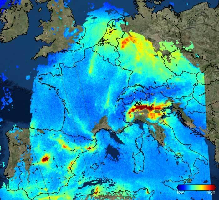 ESPAÑA: La alta contaminación de Madrid, vista desde el espacio
