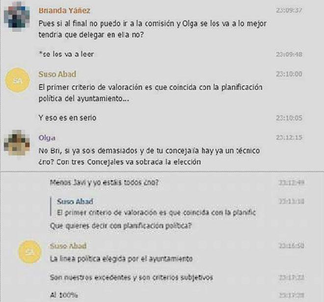 Conversación del Telegram de los ediles de Somos Alcalá sobre la adjudicación denunciada por la Fiscalía.