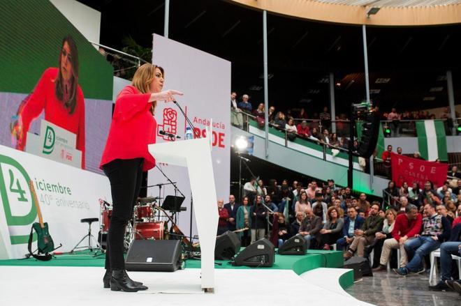 La secretaria general del PSOE andauz, Susana Díaz, durante el acto de Torremolinos.