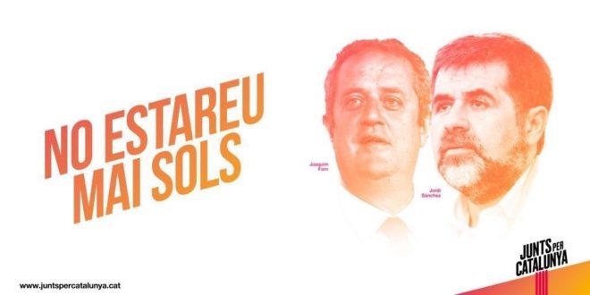 Propaganda de Junts per Catalunya sólo con los rostros de sus candidatos Forn y Sànchez