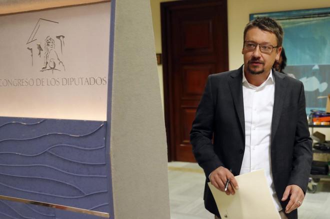 Xavier Domènech, esta mañana en el Congreso.