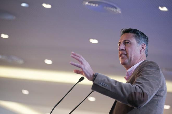 Xavier García Albiol, candidato del PPC a la Generalitat, durante la...