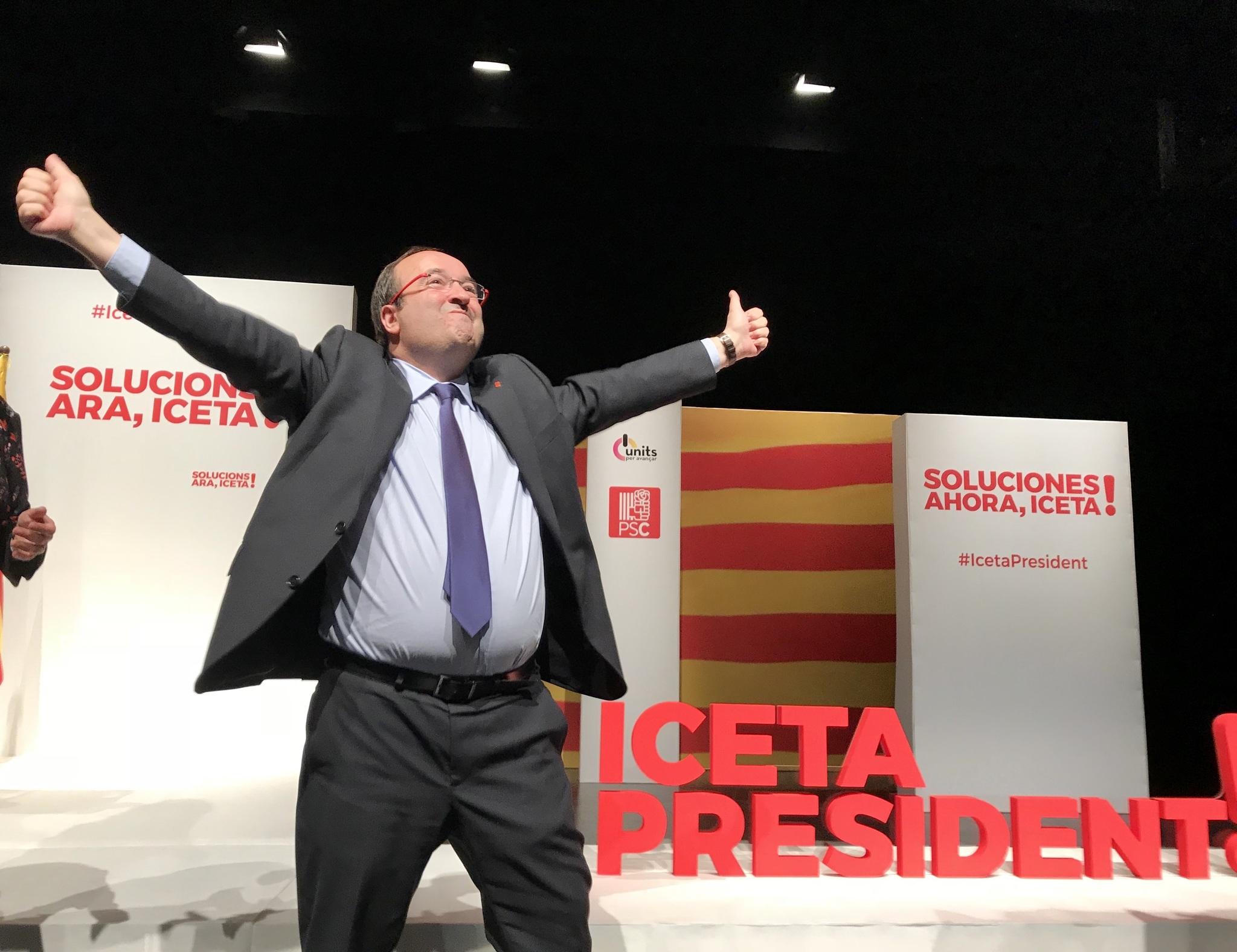 Miquel Iceta durante el mitin de arranque de campaña en L'Hospitalet