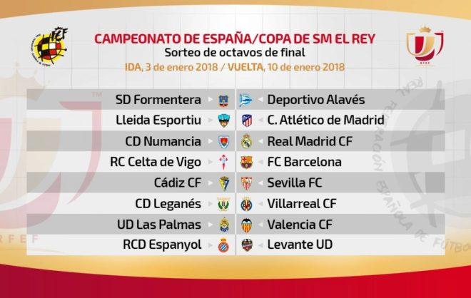 Celta-Barcelona y Numancia-Real Madrid en los octavos de final de la Copa del Rey