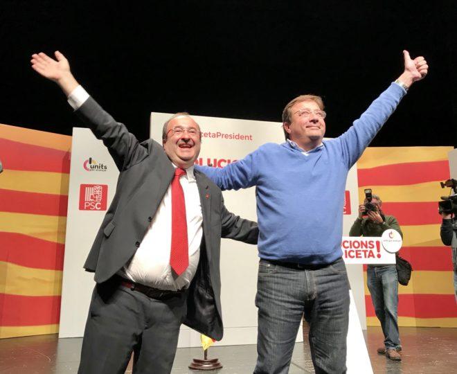 Miquel Iceta y Guillermo Fernández Vara, en un mitin en Sant Andreu de la Barca