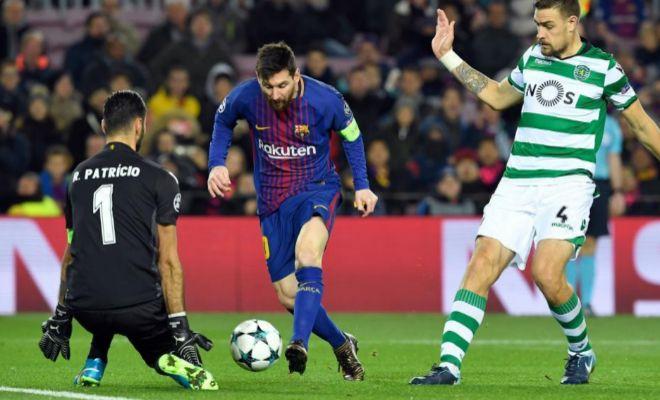 Messi, ante Rui Patricio y Coates, el martes en el Camp Nou.