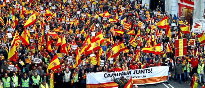 Manifestación en Barcelona en defensa de la unidad de España