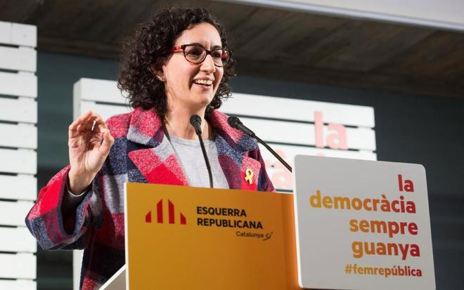 La secretaria general de ERC, Marta Rovira, durante un acto electoral...