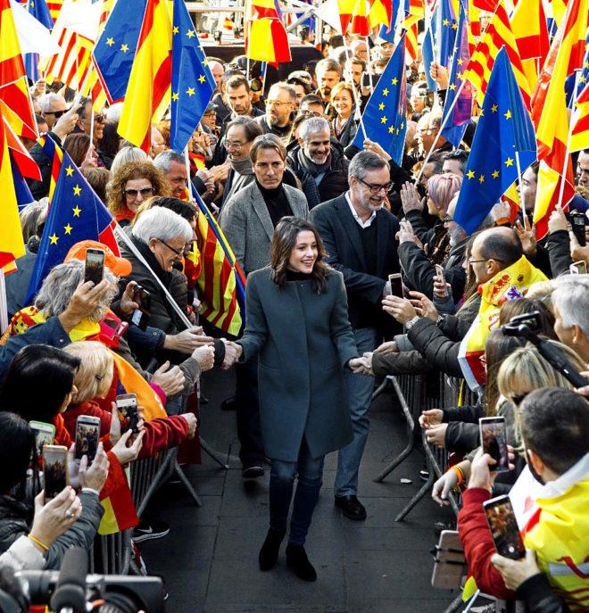 La candidata de Ciudadanos, Inés Arrimadas, a su llegada a un acto de...