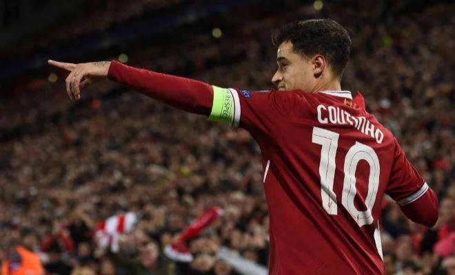 Coutinho celebra su primer 'hat trick' con el Liverpool, el pasado miércoles.