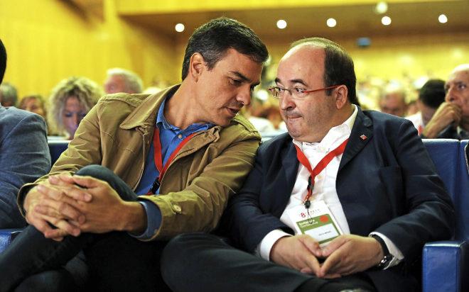 Pedro Sánchez y Miquel Iceta en un acto del PSOE en Bilbao el pasado...