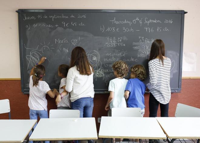 Niños en un colegio de Guadalix.