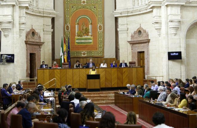 Diputados, en el salón de plenos del Parlamento andaluz en el antiguo Hospital de las Cinco Llagas.