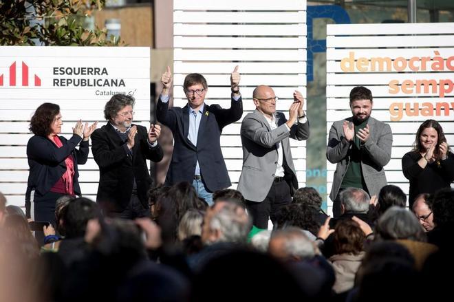 Antoni Castellà, Carles Mundó, Raül Romeva y Gabriel Rufián, entre...