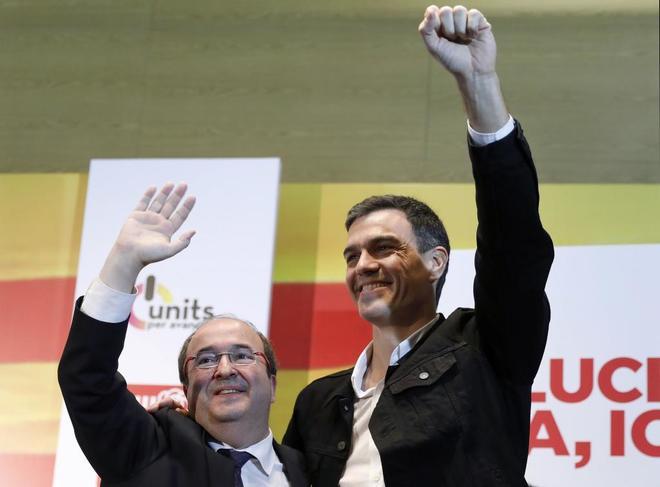 Pedro Sánchez y Miquel Iceta en el acto de este sábado en Mataró