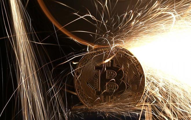 Imagen de una moneda de bitcoin.