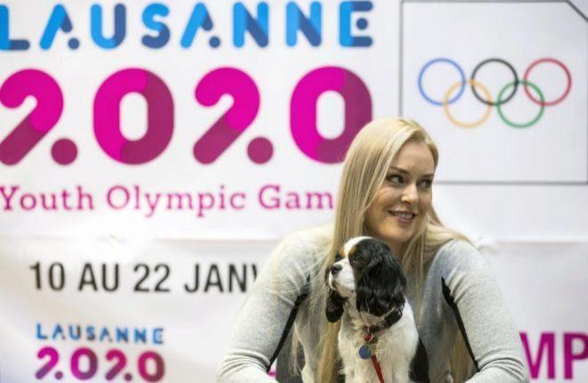 Lindsey Vonn, embajadora de los Juegos de la Juventud de Invierno 2020, el domingo en St. Moritz.