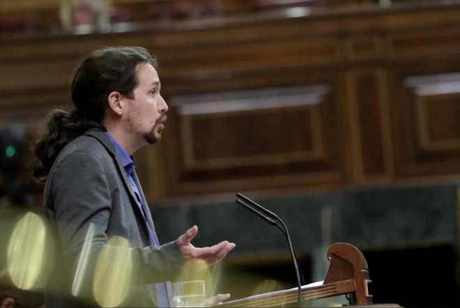Pablo Iglesias, líder de Podemos, durante una intervención en el...