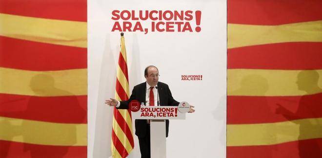 Miquel Iceta, el lunes en un mitin electoral celebrado en Badalona.