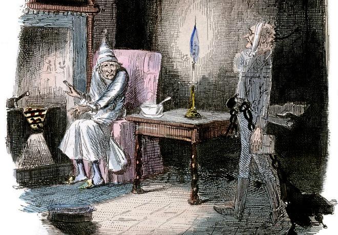 Ilustración de 'Cuento de Navidad' de Charles Dickens en la que aparece el fantasma del señor Scrooge y Marley.