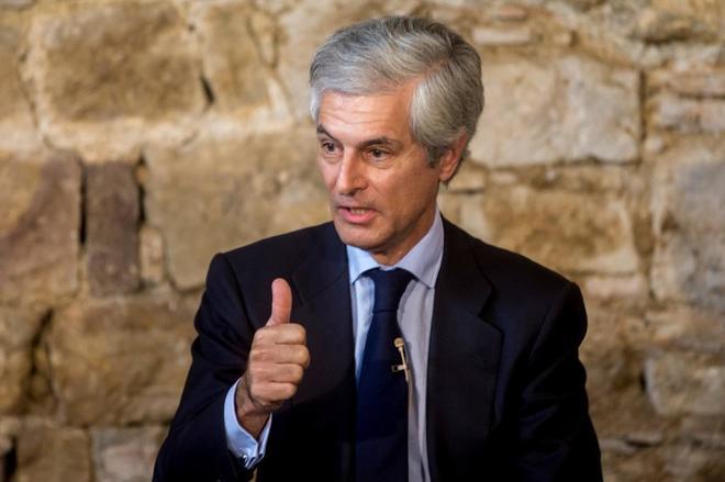 El abogado y militante del PP Adolfo Suárez Illana durante su intervención en el acto que el PP ha celebrado en el Salón del Tinell.