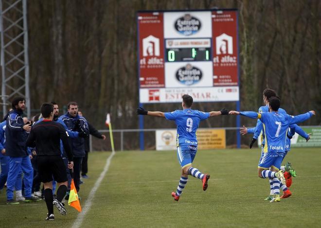 Los jugadores de la Arandina celebran su primer gol ante el Promesas Burgos.