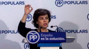 Soraya Sáenz de Santamaría, en un acto celebrado el sábado en...