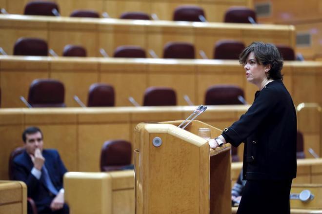 Soraya Sáenz de Santamaría, durante su comparecencia en el Senado.
