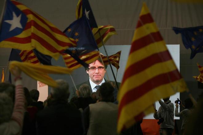 El ex president Carles Puigdemont en un acto de campaña.