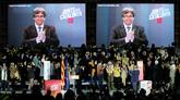 El ex president Carles Puigdemont en una aparición a través de una...
