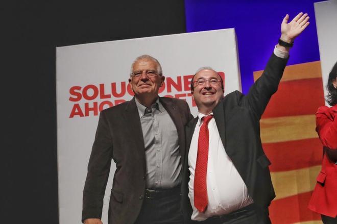 Mitin final de PSC , Iceta , Borrell en el acto electoral en Cornellpa