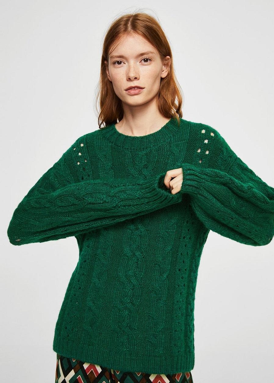 Jersey de ochos calado en verde esmeralda de Mango   Yodona