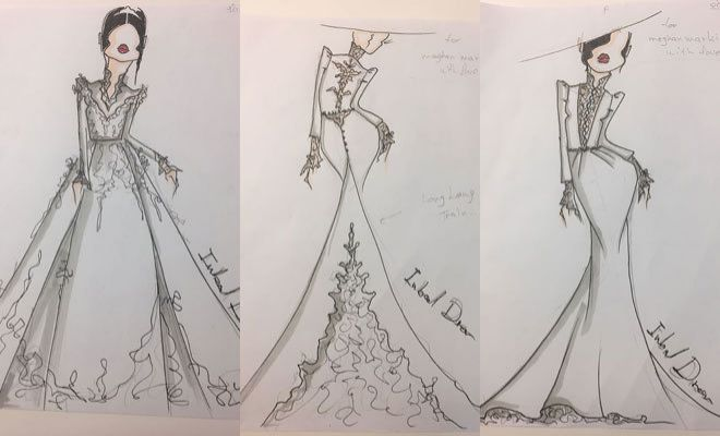 se filtran los bocetos del posible vestido de novia de meghan markle
