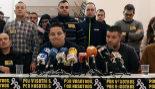 Amigos de José Luis Iranzo, en rueda de prensa en Andorra (Teruel).