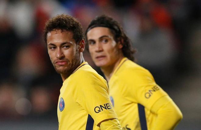 Neymar y Cavani, durante un partido del PSG.