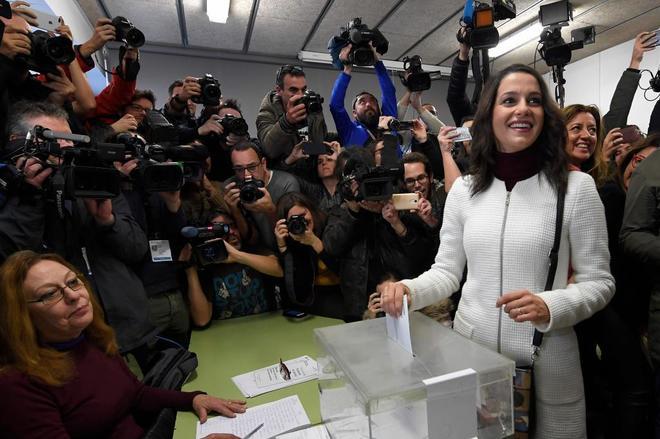 Inés Arrimadas, 'número 1' de Ciudadanos, esta mañana, en el...